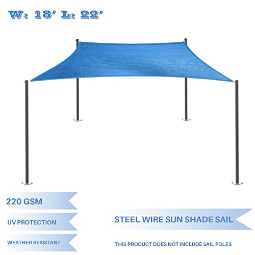 E K Sunrise 18 x 22 Strengthen Large Sun Shade Sail Reinforced by Steel Wire- Blue Square Heavy Duty – 220 GSM -Perfect Patio Outdoor Garden Backyard