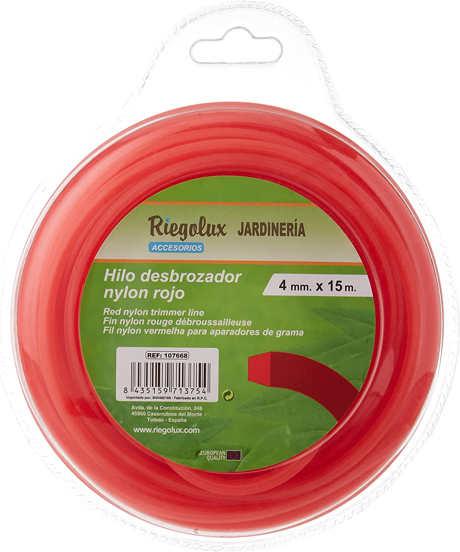Riegolux 107668 Hilo Desbrozadora Nylon Cuadrada, Rojo, 4 mm x 15 m