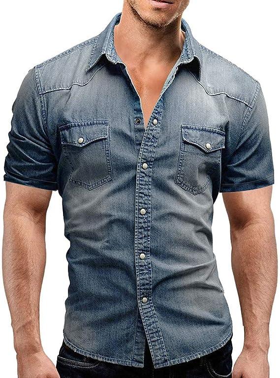 Sunnyuk Hombre Camisas Camisa para Hombres Estilo Casual Camisa Slim fit con Botones y Bolsillo Blusa de Manga Corta: Amazon.es: Deportes y aire libre