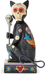 Enesco Jim Shore Heartwood Creek Halloween Day of The Dead Cat Figurine, 6.5 Inch, Multicolor