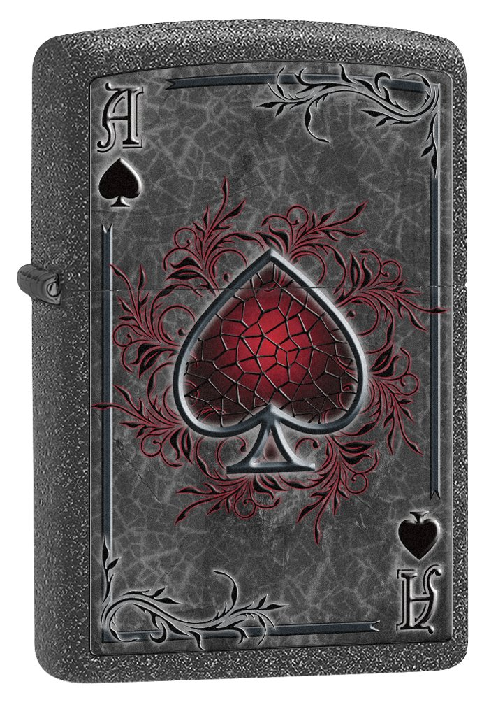 Zippo 0242 Classic Black Matte Ace of Spades-Flaming Windproof Pocket Lighter Zippo Manufacturing Company