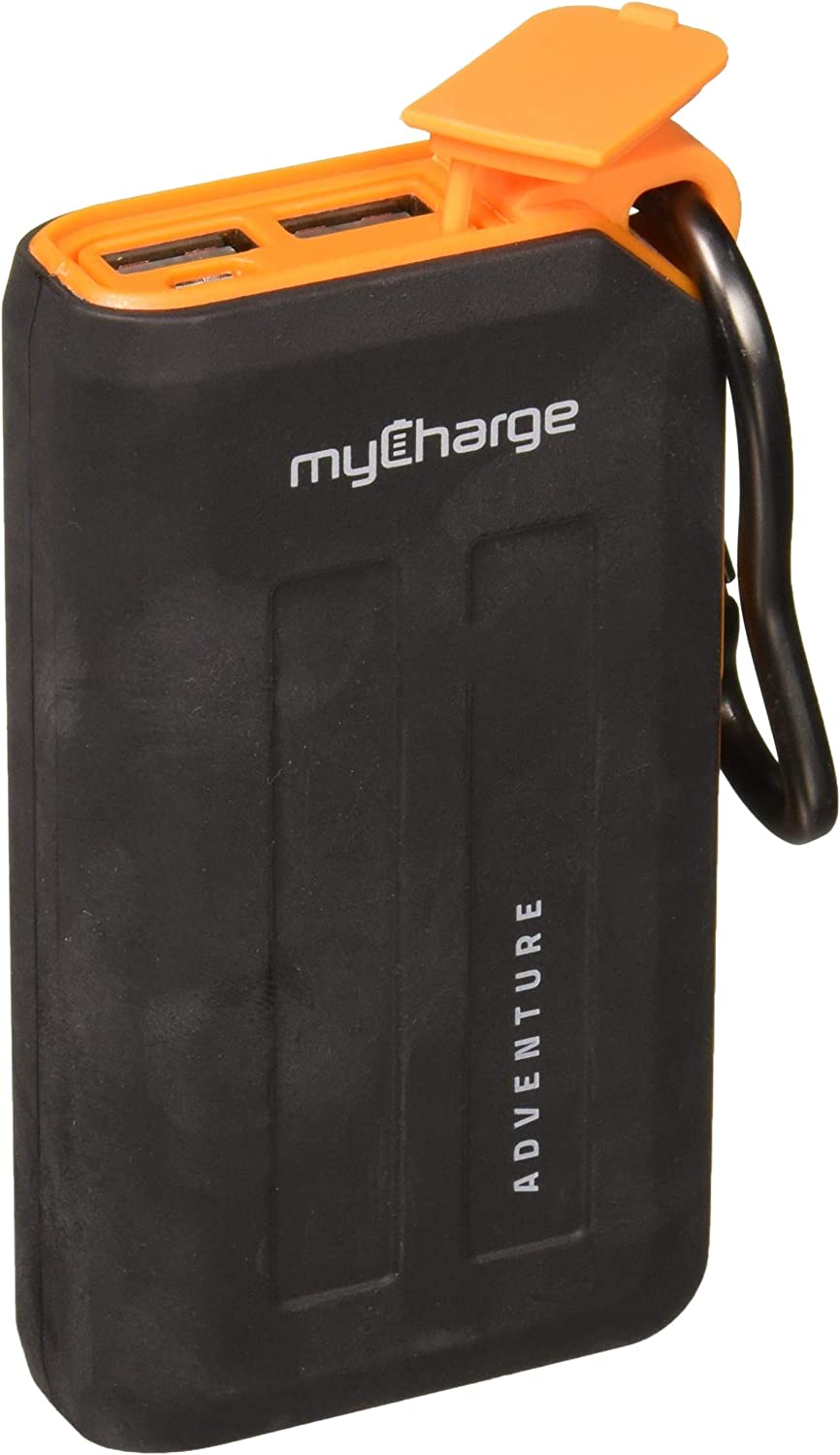 myCharge Adventureplus Portable Charger 6700mAh Rugged External Battery Pack with Built-in Carabiner Clip and Dual USB Ports for Smartphones, Tablets and USB Devices (iPhone, iPad, Samsung Galaxy)