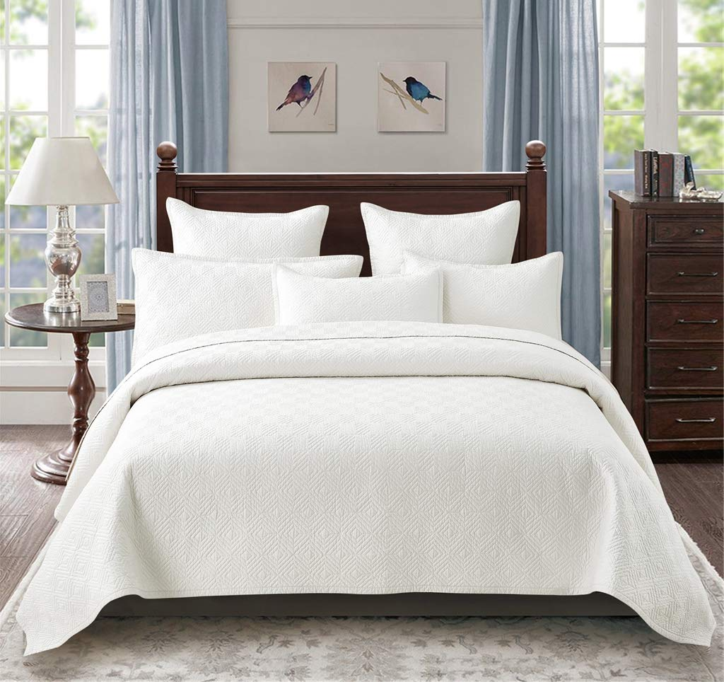 Calla Angel Evelyn Stitch Diamond Luxury Pure Cotton Quilt, Ivory, King by Calla Angel (Image #1)