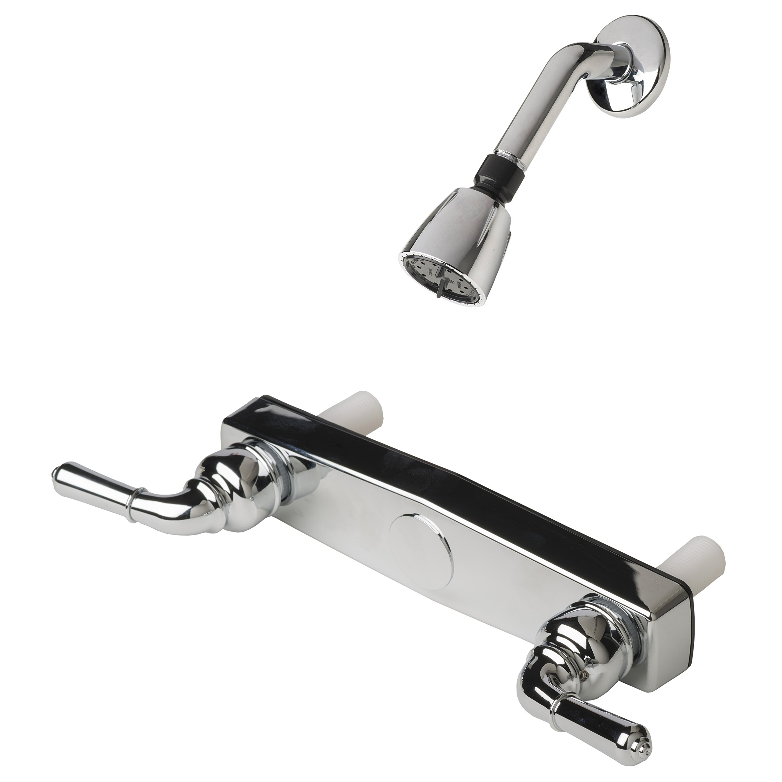 Builders Shoppe 3320CP/4010CP Mobile Home Non-Metallic Two Handle 8'' Shower Faucet Valve with Matching Shower Head/Arm/Flange Chrome Finish