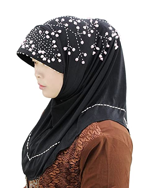 baabdf11cef GladThink Women s Muslim Islamic Summer Hijab Hand Made with Beadings  BlackPink  Amazon.ca  Luggage   Bags