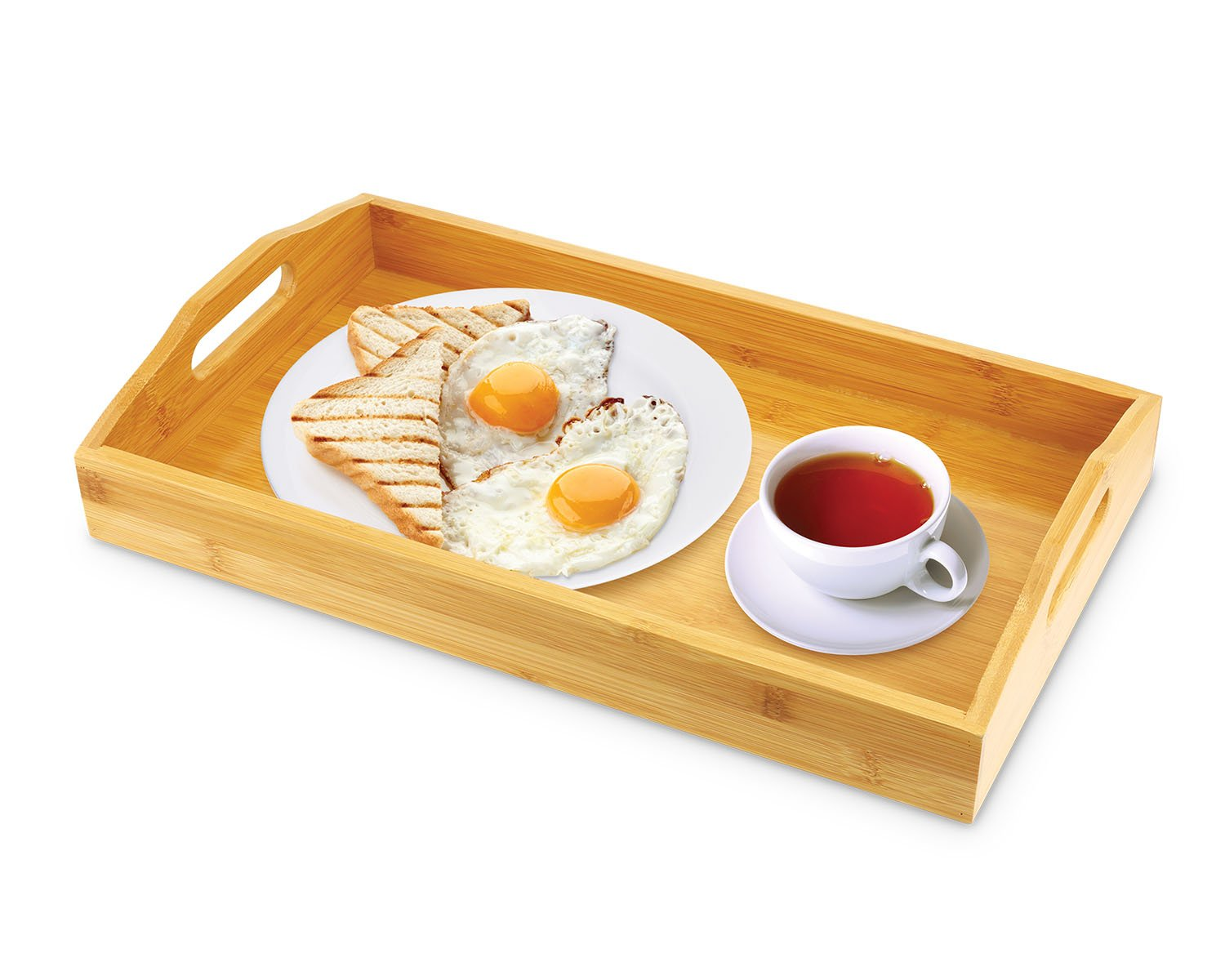 KOVOT Bamboo Serving Tray - Breakfast Butler Tray With Handles: 17''L x 10''W x 3''H