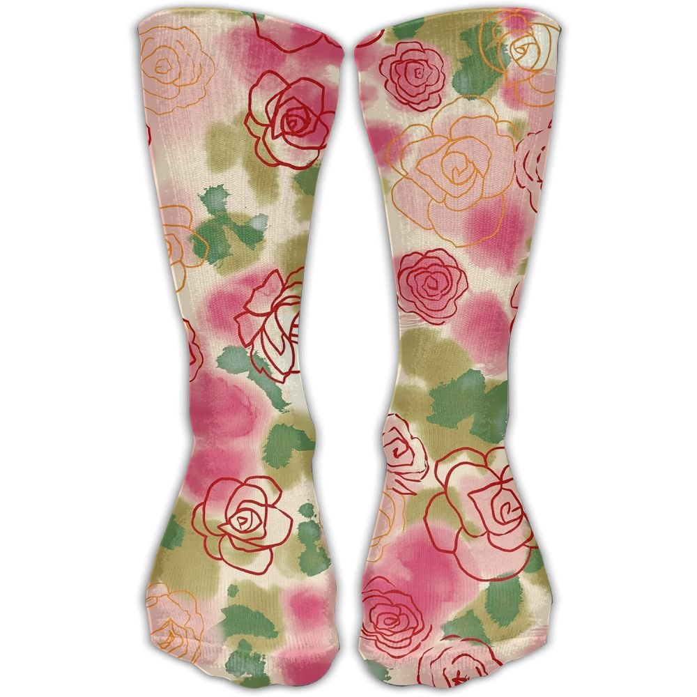 Protect Wrist For Cycling Moisture Control Elastic Sock Tube Socks Flowers Painting Athletic Soccer Socks