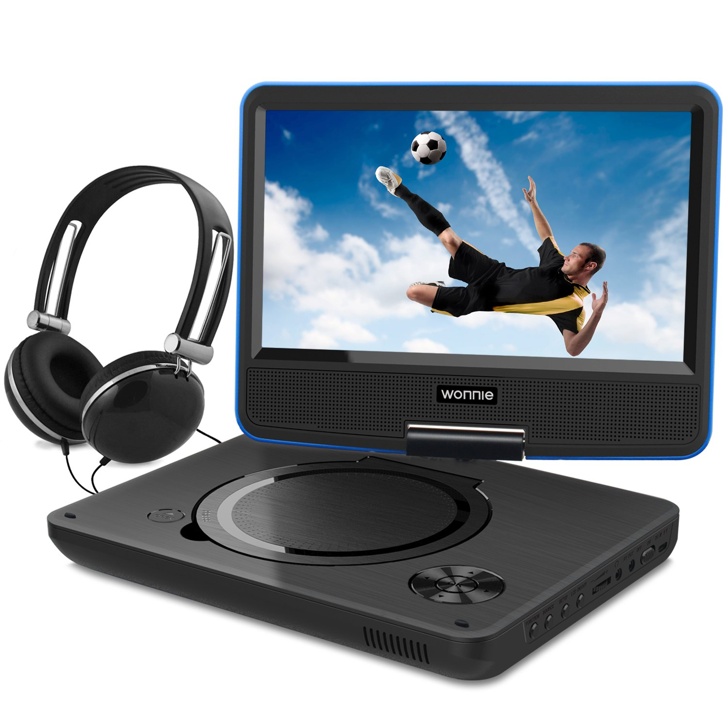 9.5 Inch Portable DVD Player for Kids with Swivel Screen, USB / SD Slot Built in 4 Hours Rechargeable Battery (BLUE) by WONNIE