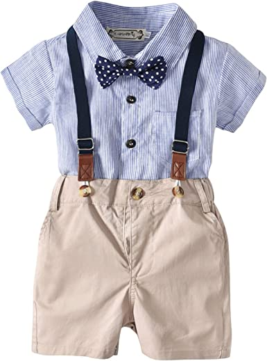 Traje Infantil, Traje de niño, Camisa de Manga Corta + Tirantes + Pajarita de Mariposa Traje de Tres Piezas (para 0-2 años): Amazon.es: Ropa y accesorios