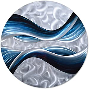 "Pure Art Blue Desire Metal Wall Art, Small Round Metal Wall Decor in Abstract Ocean Design, Round Piece Measures 32""x 32"", 3D Wall Art for Modern and Contemporary Decor"