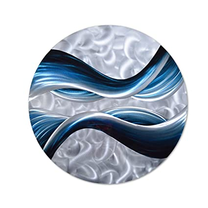 Amazoncom Pure Art Blue Desire Metal Wall Art Small Round Metal