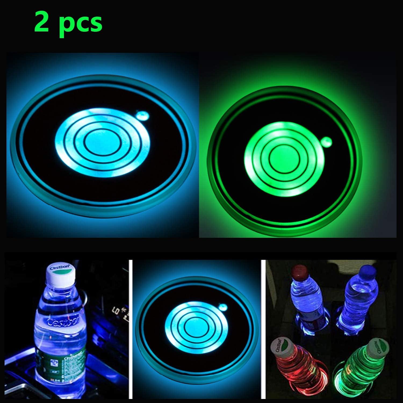 2pcs Led Cup Holder Lights Led Untersetzer Mit 7 Farben Luminescent Cup Pad Usb Ladetassenmatte Für Untersetzerzubehör Innendekoration Atmosphärenlicht Auto