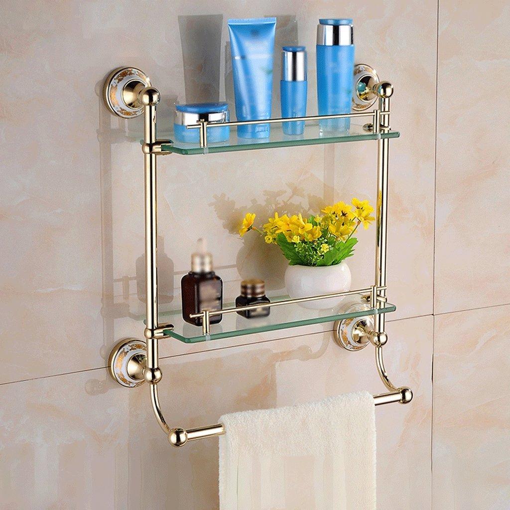 41 cm浴室用品ヨーロッパの金色のダブルポールのガラス棚 B07D1PX79941*13*46cm