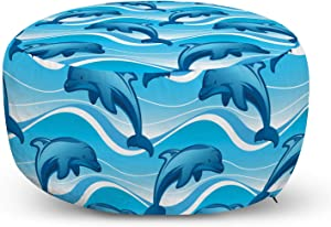 Lunarable Dolphin Ottoman Pouf, Dolphin Illustration Jumping Waves with Large Mammal Friendly Ocean Animal, Decorative Soft Foot Rest with Removable Cover Living Room and Bedroom, Azure Blue