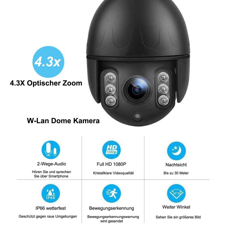 ZILNK PTZ WLAN 1080P IP Kamera Outdoor Security Uuml
