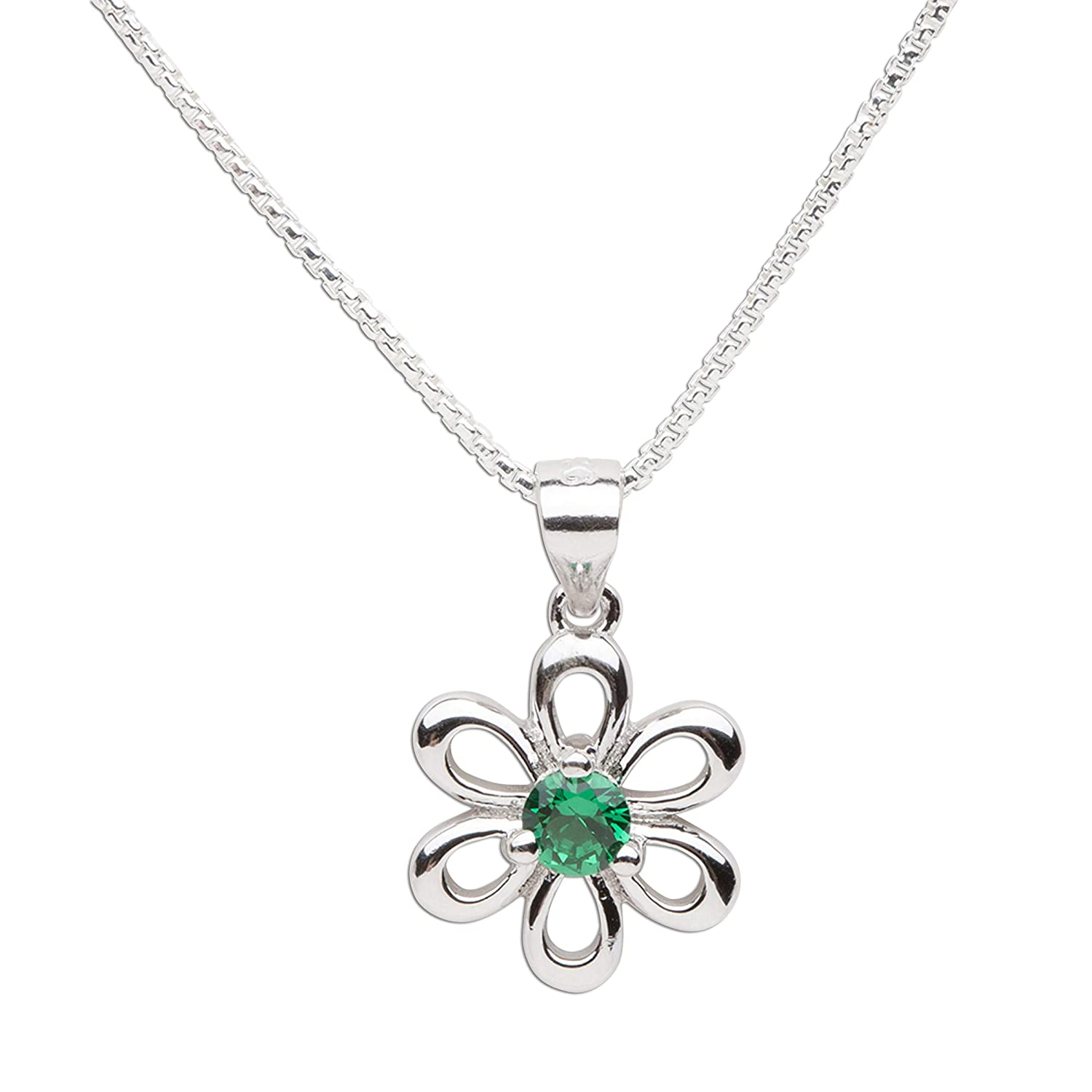Girls Sterling Silver Daisy Simulated Birthstone Necklace for Children