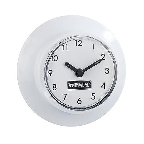Wenko Reloj para Baño Blanco 6x6x3 cm