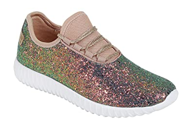 0a8193f4db2b1 Forever Link Women's Remy-18 Glitter Lace-Up Low Top Fashion Sneaker