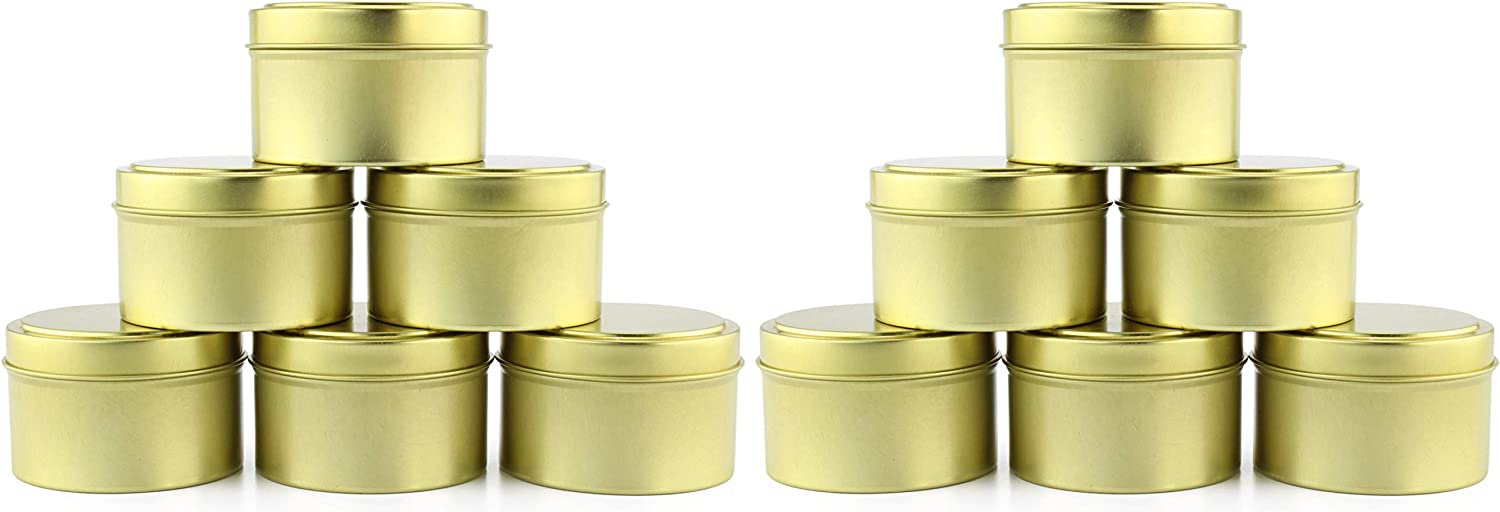 6-Ounce Round Gold Tins/Candle Tins (12-Pack), Metal Tins for Candles, DIY, Party Favors & More, Slip-On Lids Included