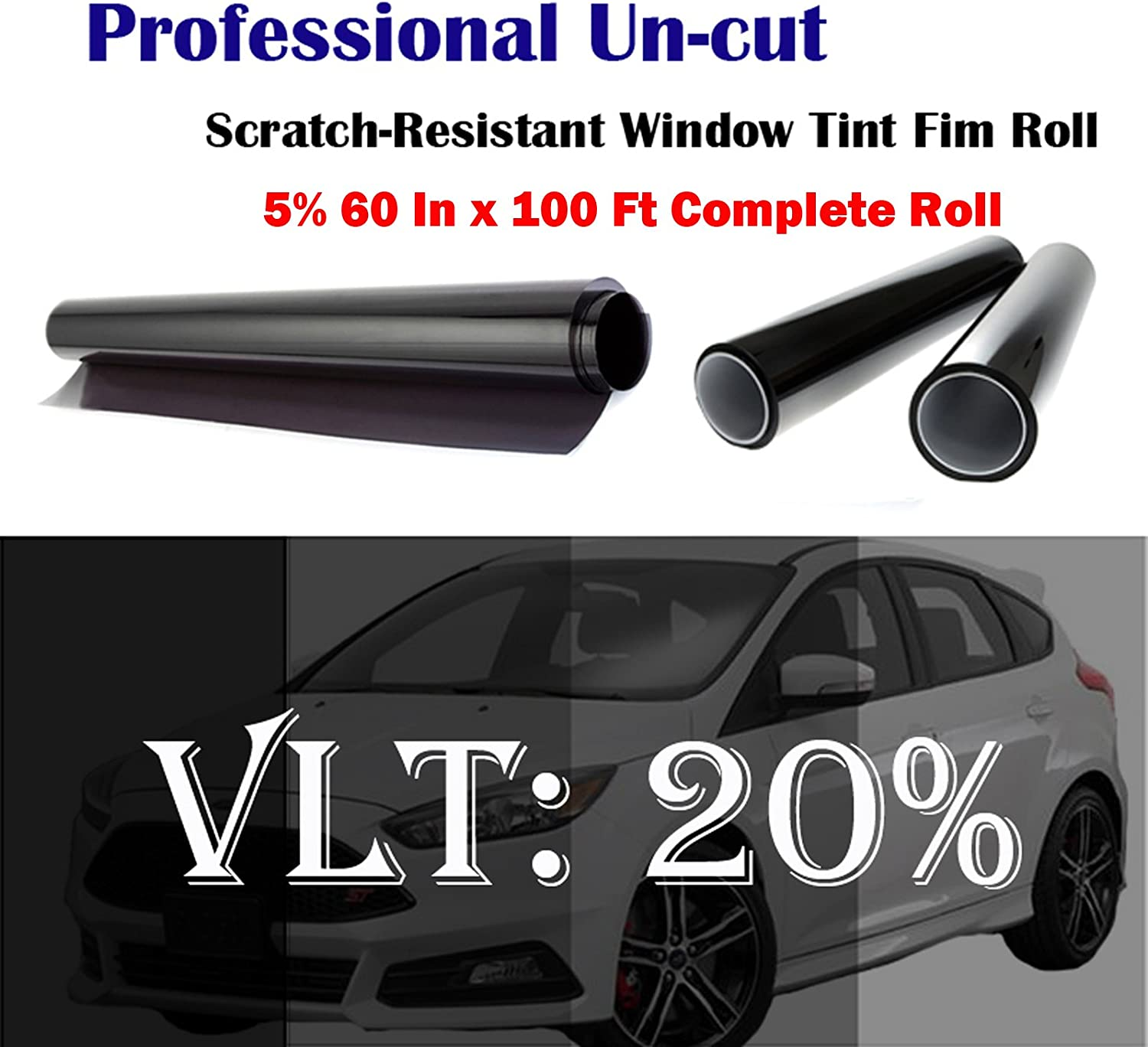 "Mkbrother Uncut Roll Window Tint Film 20% VLT 60"" in x 100' Ft Feet (60 X 1200 Inch) Car Home Office Glass"
