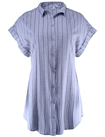8eb49dfe90ac1f Ladies  Code Vertical Stripe Button Down Tunic Shirt Dress Light Grey S Size