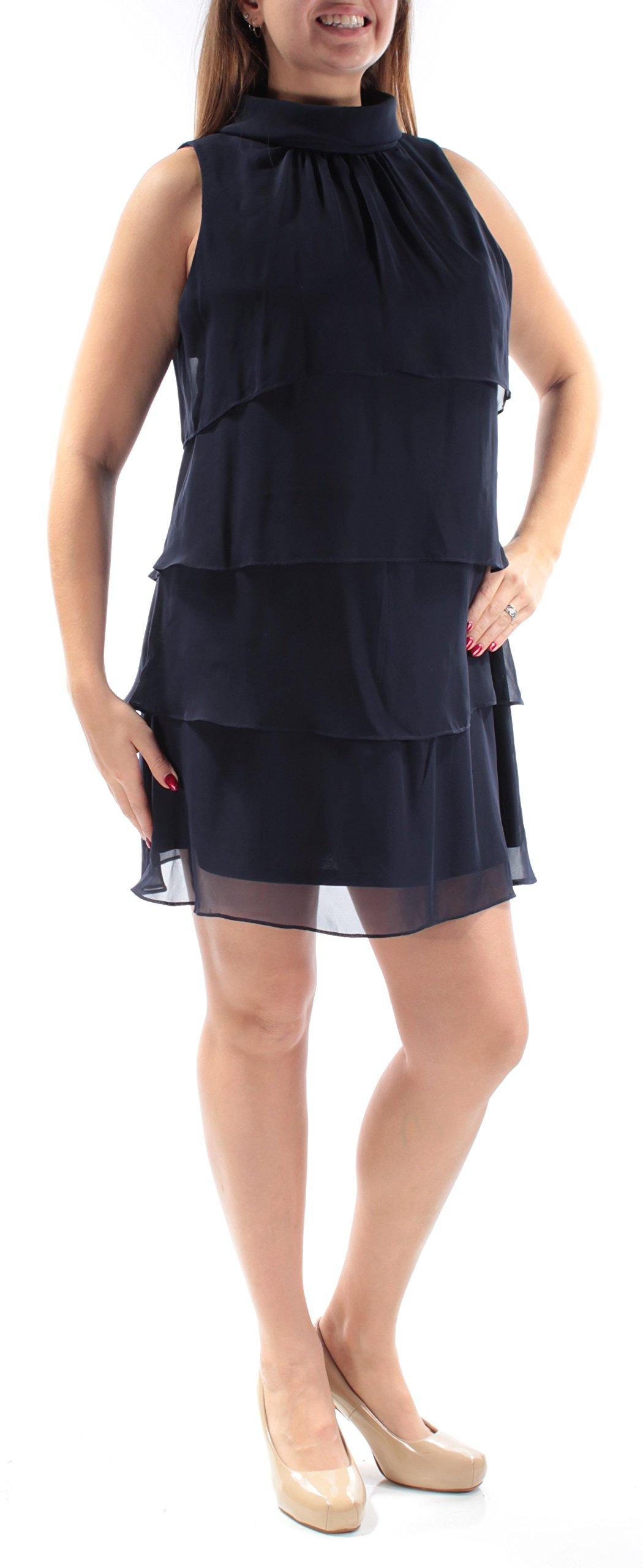 Jessica Howard Women's Petite Mockneck Tiered Sheath Dress (14P, Navy)