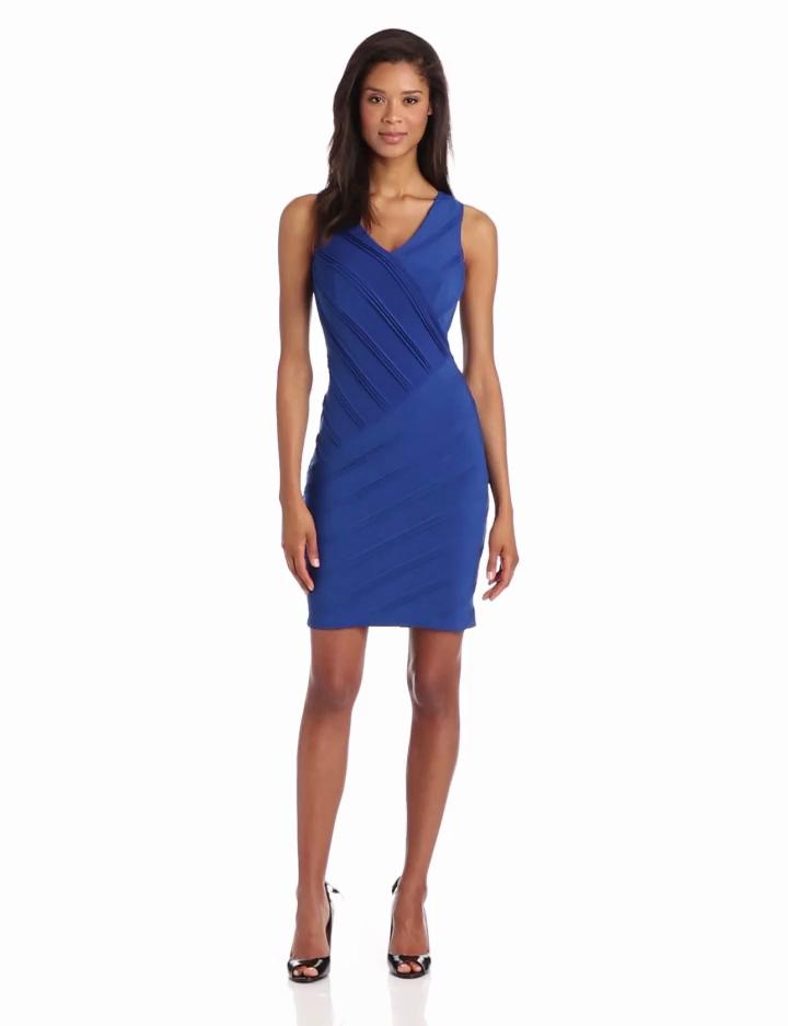 Calvin Klein Womens Sleeveless Stripe Dress, Pacific, 2