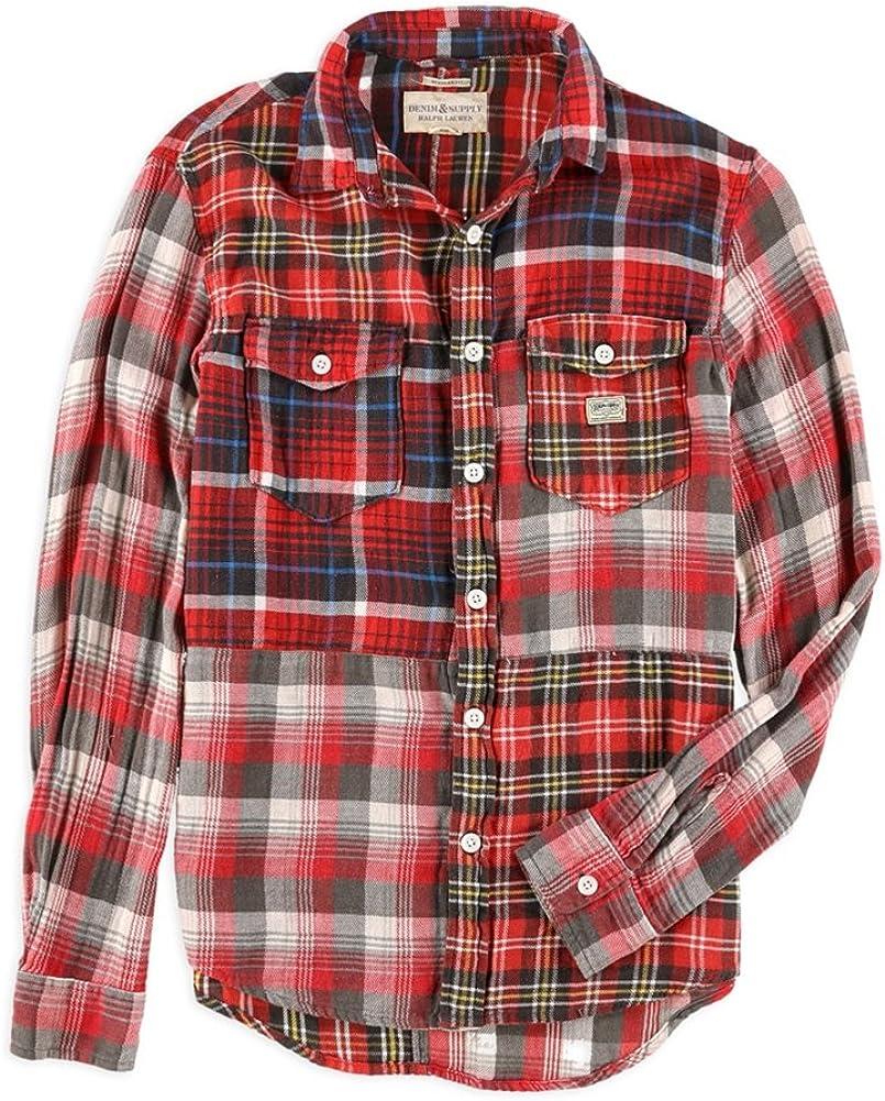 Ralph Lauren Mens Patched Plaid Button Up Shirt