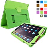 Snugg iPad Air & New iPad 9.7 inch 2017 Case - Smart Cover Case with Kick Stand & (Green Leather) for the Apple iPad Air 1 (2013)