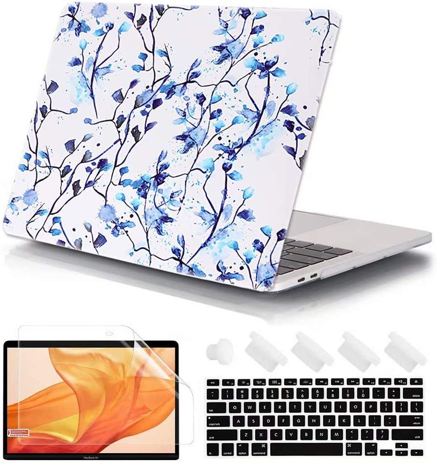 FANCITY MacBook Air 11 Inch Case, Smooth Hard Plastic Cover Matte Rubberized Protective Laptop Case for MacBook Air 11.6 Inch Model A1370 A1465, Blue Flower