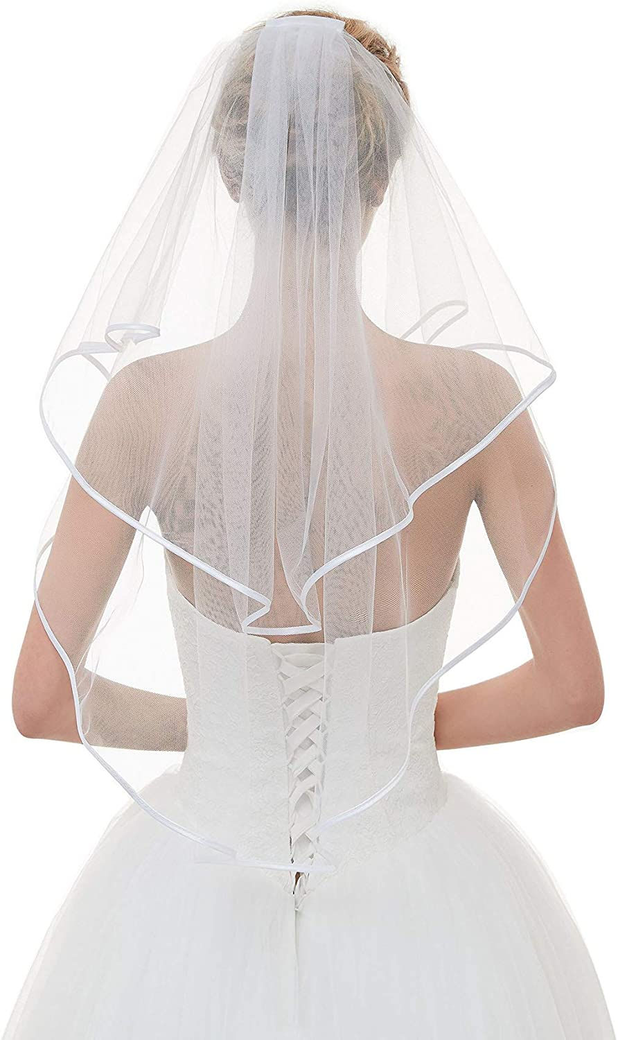 AnDream White Ivory Two Layers Bridal Veil with Comb for Wedding Dresses Accessories VL02