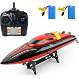 Rodzon RC Boat with LCD display: Use for Pool & Outdoor; 2.4Ghz Remote Control Boat with High Speed motor for Adults & Kids + 2 Batteries Red (Red)