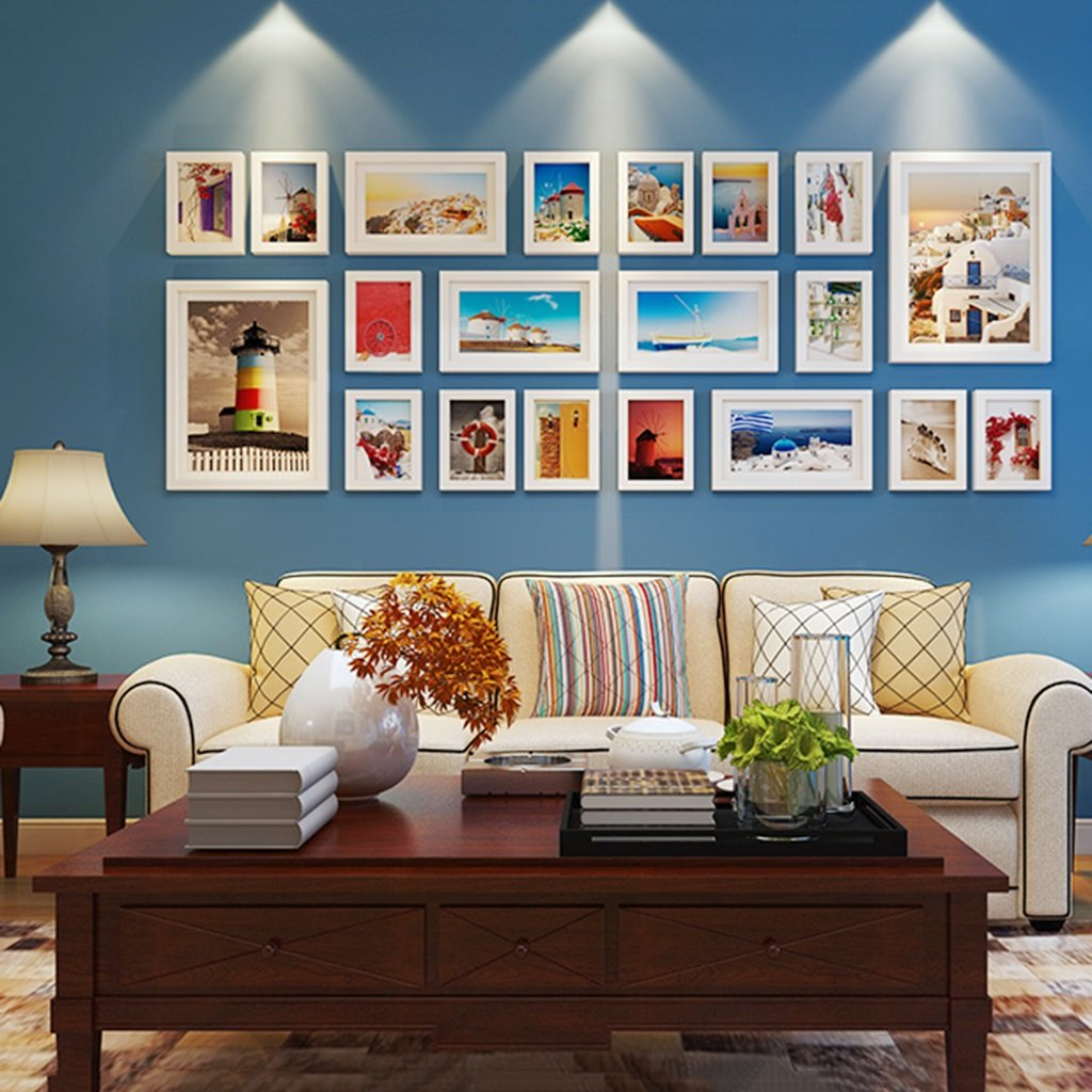 Photo frame collage Living Room Solid Wood Combination Creative Bedroom Large Size Frame Background Decorations ( Color : White ) by Photo frame collage
