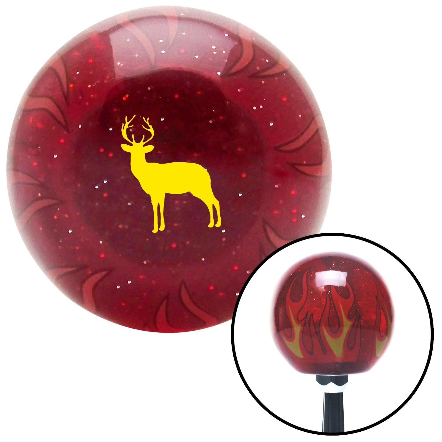 American Shifter 296473 Shift Knob Yellow Deer Silhouette Red Flame Metal Flake with M16 x 1.5 Insert