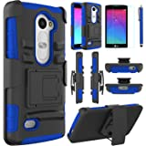 LG Leon Case, LG Power Case, EC™ Hybrid Dual Layer Combo Armor Protective Case Cover with Kickstand and Locking Belt Swivel Clip for LG Tribute 2/ LG Leon LTE C40 (Black+Dark Blue)