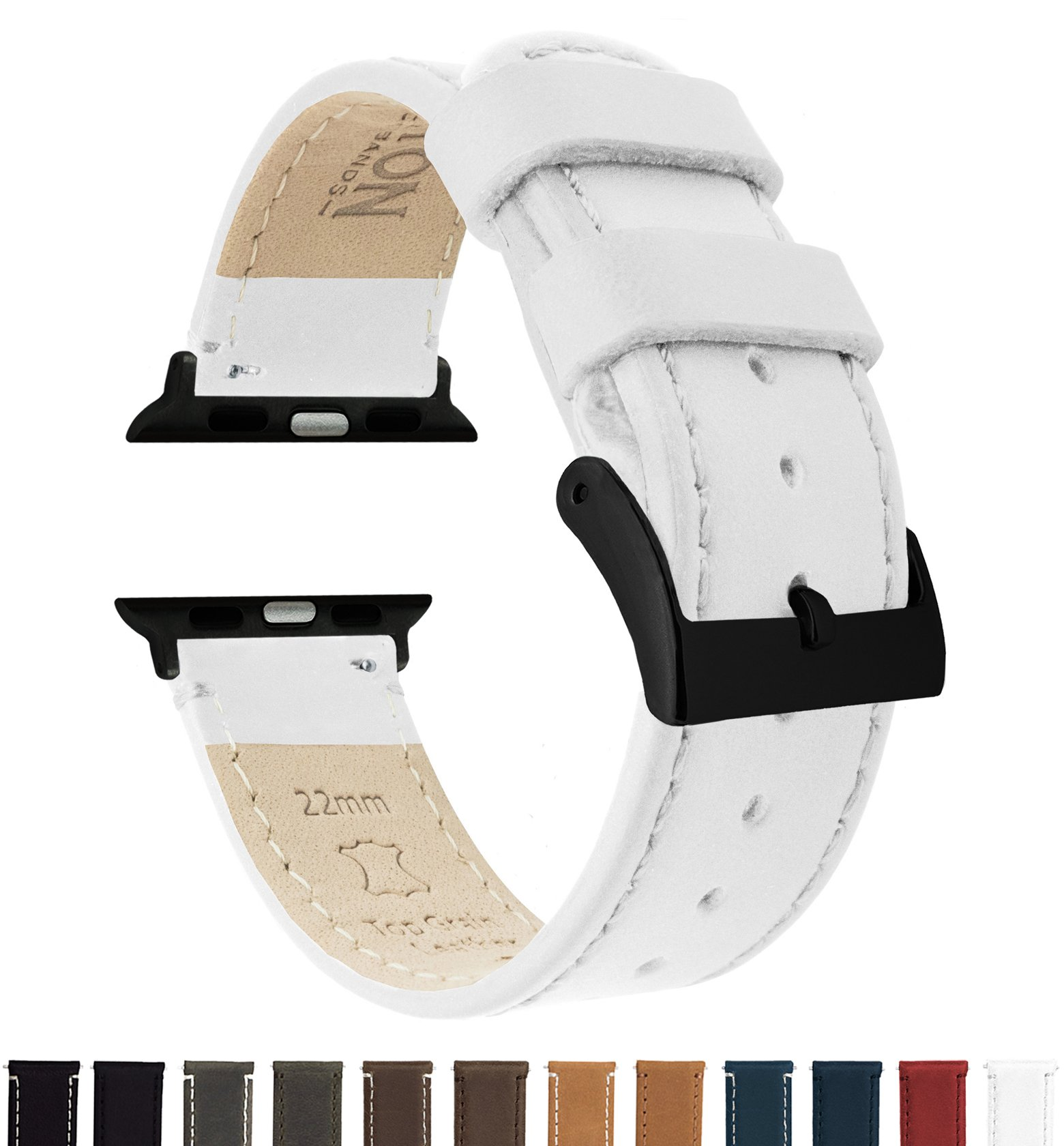 BARTON Leather Watch Bands for Apple Watch - Black Hardware for 42mm & 38mm -White Leather & Stitching