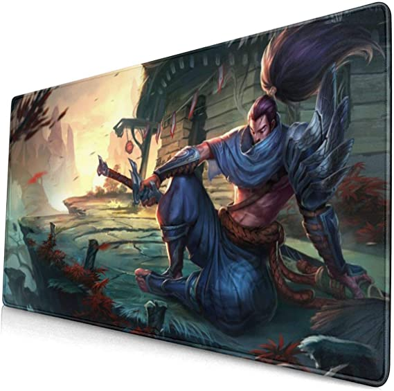 Large Mouse Pad for League of Legends Yasuo with Stitched Edges Gaming Mouse Mat Non-Slip Rubber Base Mousepad for Laptop