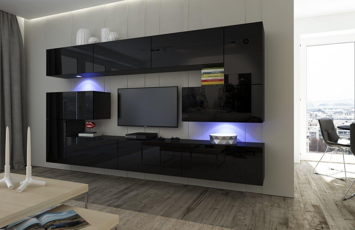 Home Direct Albania N15, Modernes Wohnzimmer, Wohnwände, Wohnschränke,  Schrankwand (Schwarz MAT Base/Schwarz HG Front, LED RGB 15 Farben)