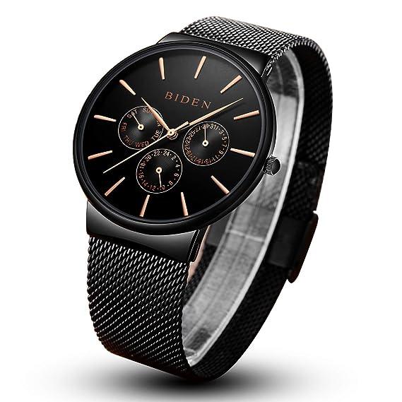 Hombre 24 hora calendario resistente al agua acero cuarzo relojes para hombres multifunción reloj de pulsera + caja: Amazon.es: Relojes