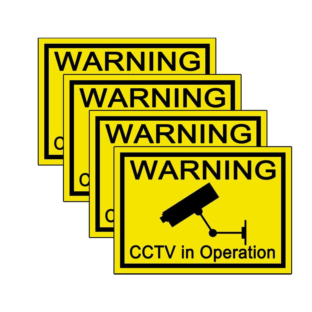 Warning CCTV in Operation Security Sticker - 7.8 x 5.8 cm (Pack of 4) Robelli