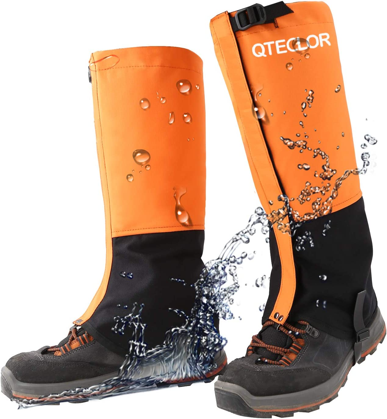QTECLOR Leg Gaiters Waterproof Snow Boot Gaiters for Snowshoeing, Hiking, Hunting, Running, Motorcycle Anti-Tear Oxford Fabric, TPU Instep Belt Metal Shoelace Hook for Outdoor (Orange, L)