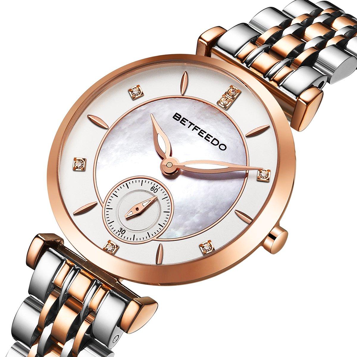 Wrist Watch for Women, Ladies Watch,Rose Gold Watch for Girls,BETFEEDO Waterproof Quartz Dress Watches (Rose Gold/Silver)