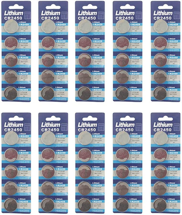 50 Pack 3V High Capacity Lithium Button Coin Cell Batteries CR2450 ECR2450 Used in Most Electronic Devices