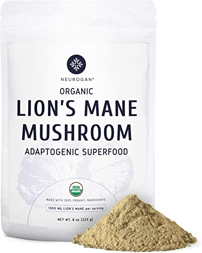 Neurogan Organic Lions Mane Mushroom Powder, 8 oz Bag, Improve Focus, Memory, Mental Clarity, Nerve Health