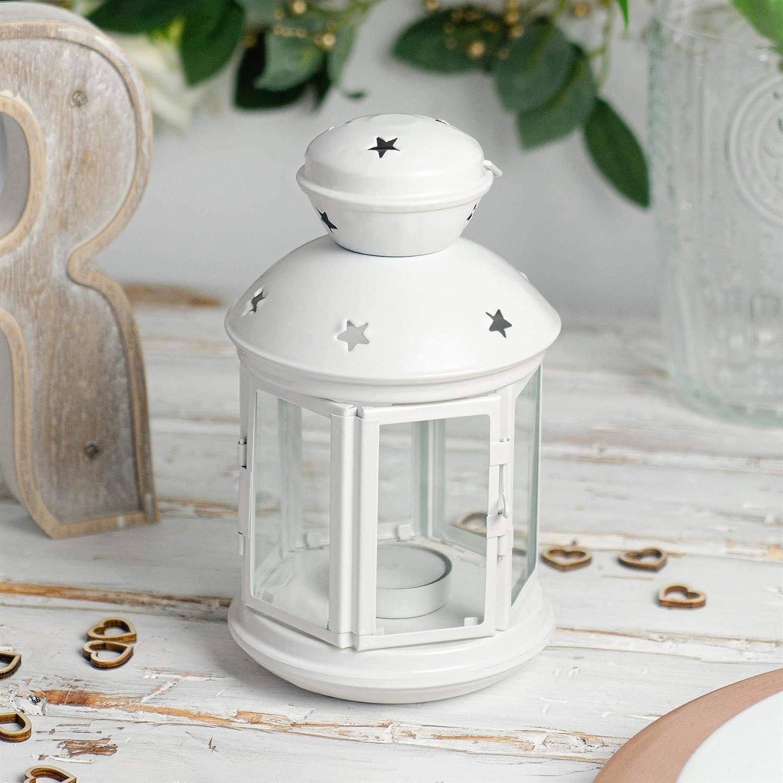 Set 2 Cream 20cm Nicola Spring Candle Lanterns Tealight Holders Metal Hanging Indoor Outdoor