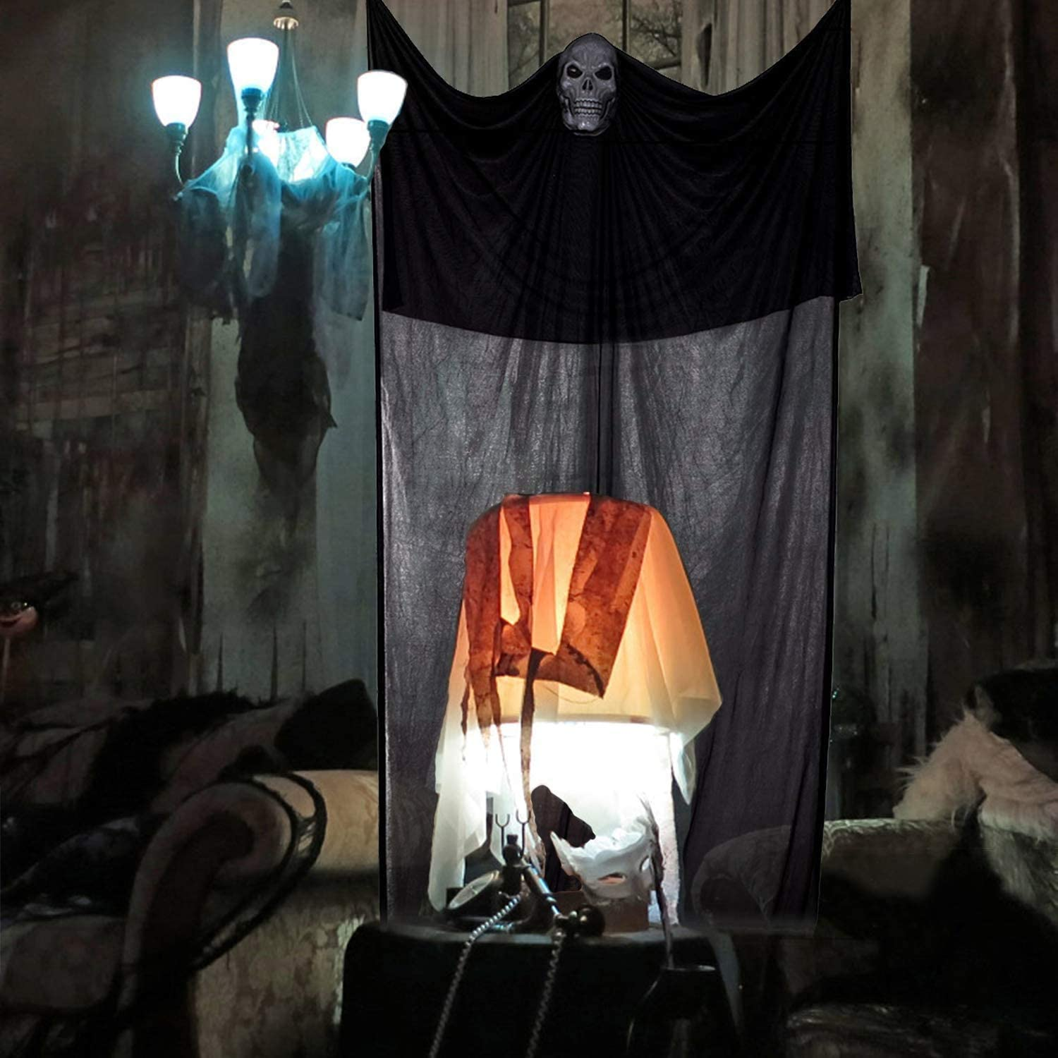 Ucradle 12.47Ft Halloween Decoration Hanging Ghost Flying Skeleton Scary Halloween Decorations Witch Skeleton/Curtain for Outdoor Indoor Haunted House Party Bar Garden Black
