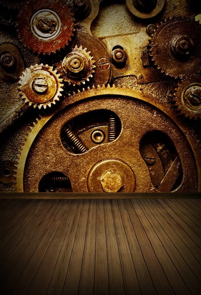 Industrial 15x10 FT Vinyl Backdrop PhotographersPieces of Old Mechanism Close Up Gears View Grunge Antique Cogs Technical Image Print Background for Baby Birthday Party Wedding Graduation Home Decorat