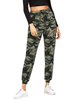 SweatyRocks Womens Casual Pants Drawstring Waist Solid Sweatpants with Pocket