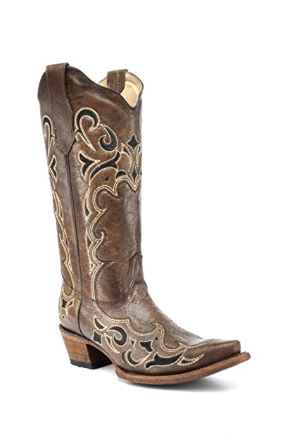 156535207f3 Corral Circle G Boot Women's 12-inch Distressed Leather Side Embroidery  Snip Toe Brown/Black Western Boot