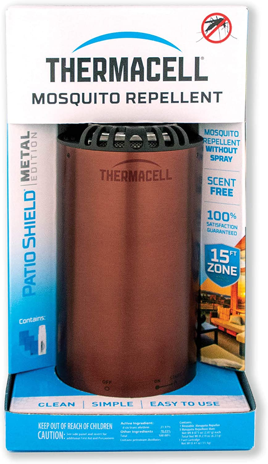 Thermacell Patio Shield Mosquito Repellent Metal Edition, Bronze; Easy to Use, Highly Effective; Provides 12 Hours of DEET-Free Backyard Mosquito Repellent; Scent-Free, No Spray, No Smoke and Cordless